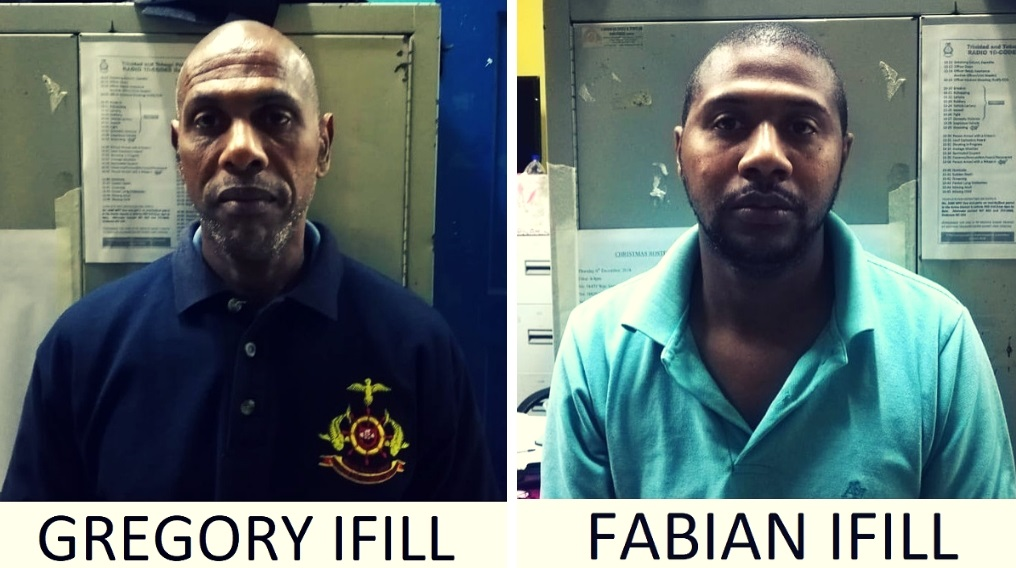 Photo: Gregory and his son, Fabian Ifill were charged with wounding with intent after they allegedly beat a neighbour with a shotgun. Photo courtesy the TTPS.