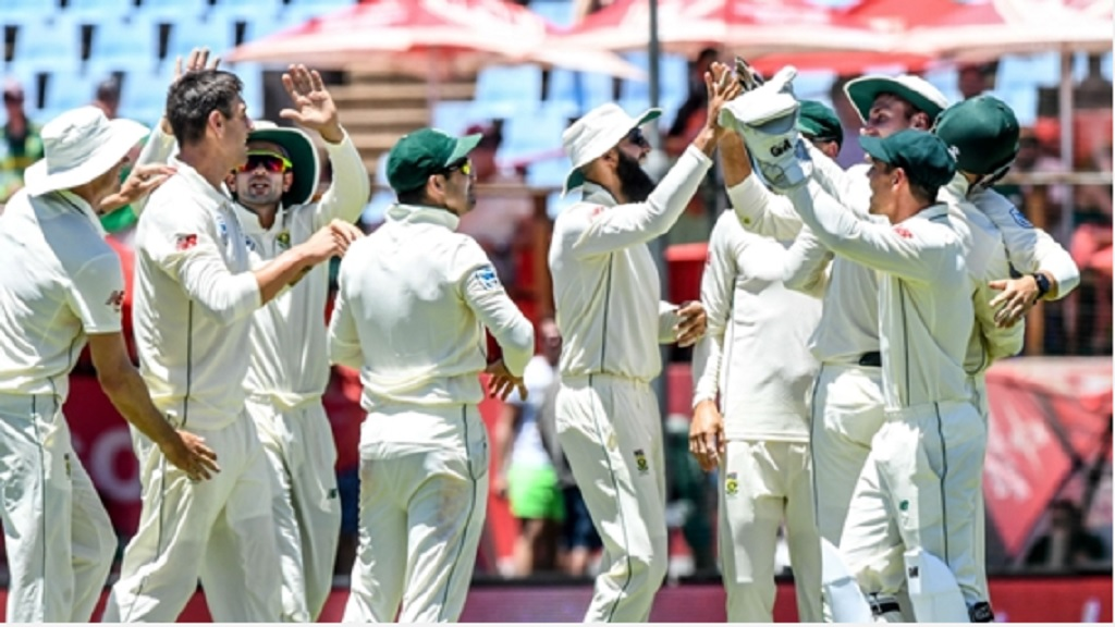 South Africa celebrate against Pakistan.