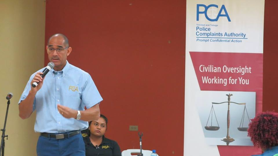 Director of the Police Complaints Authority (PCA) David West addresses members of the Sangre Grande community at a recent outreach meeting