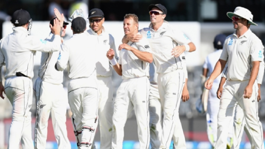 New Zealand players celebrate against Sri Lanka.