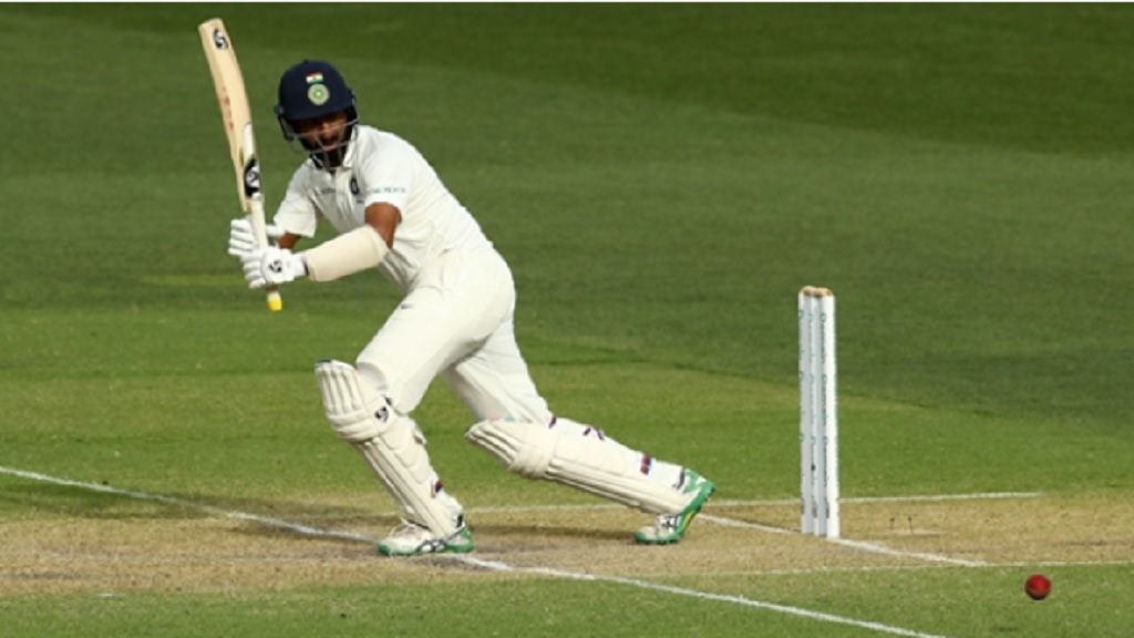 Cheteshwar Pujara in action against Australia in Adelaide.