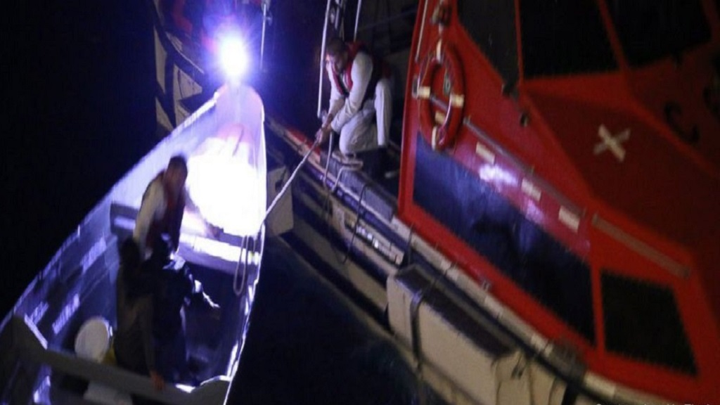 Crew members from a Royal Caribbean International cruise ship, using a small vessel, rescue two Costa Rican fishermen who were stranded at sea for 20 days, between Jamaica and the Cayman Islands last Thursday night.