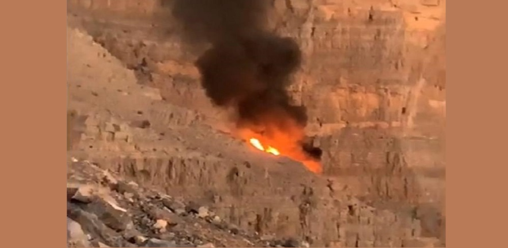 Videos posted online show the helicopter diving into a tailspin before crashing and bursting into flames in the valley of a rocky mountain. (Image courtesy Gulf News UAE)