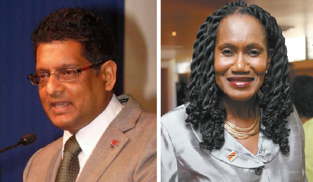 Former Government Minister Devant Maharaj (left), Labour Minister Jennifer Baptiste-Primus (right)
