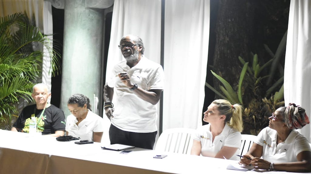 Reggae Marathon Race Director, Alfred 'Franno' Francis addresses journalists at a media briefing at Couples Swept Away in Negril on Saturday. (PHOTOS: Marlon Reid)