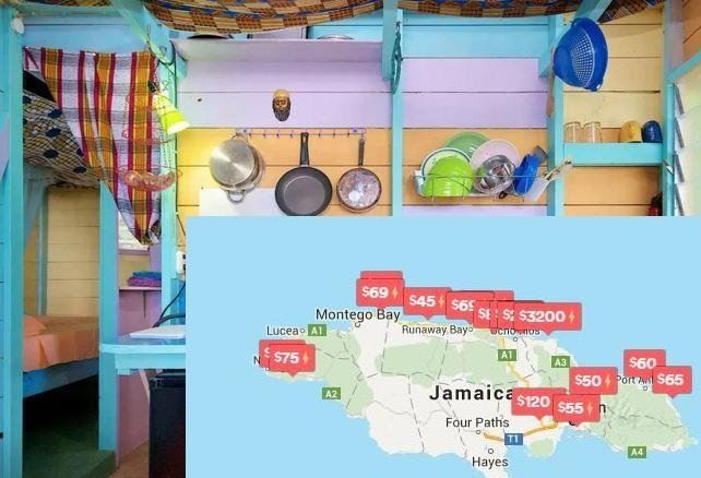 A photo depicting a local listing paired with a screenshot showing available listings and cost per listing from Airbnb.