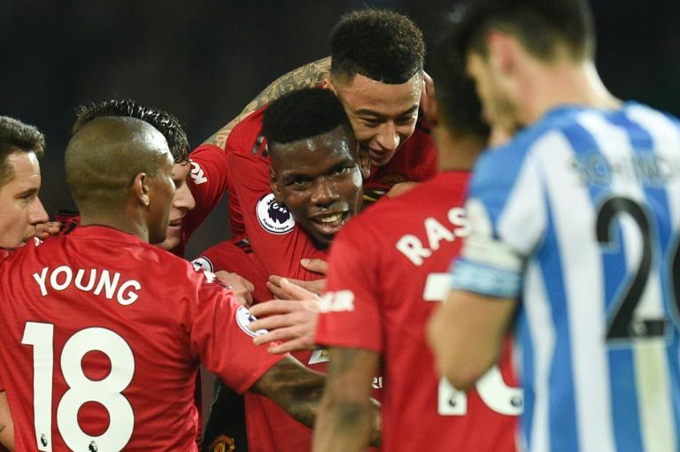 Le milieu français de Manchester United Paul Pogba auteur d'un doublé en Premier League contre Huddersfield, le 26 décembre à Manchester