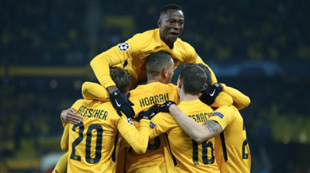 Young Boys celebrate against Juventus.