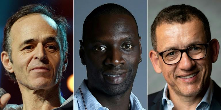 Montage de photos d'archives réalisé le 30 décembre 2018 montrant (de G à D) le chanteur Jean-Jacques Goldman (15 janvier 2014), l'acteur Omar Sy (18 avril 2016) et l'acteur et réalisateur Dany Boon (24 avril 2018)