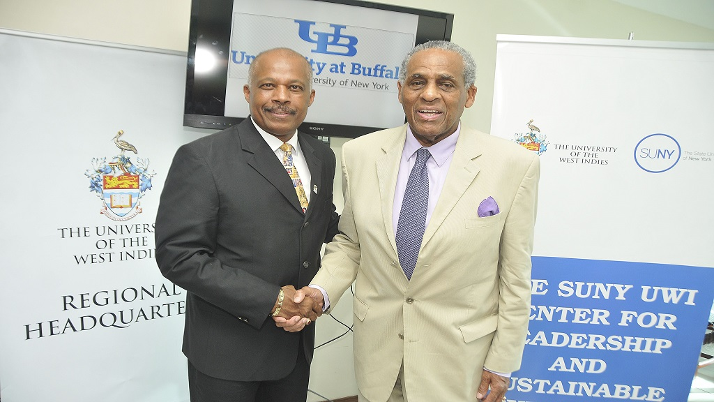 Vice-Chancellor of UWI, Professor Sir Hilary Beckles (left) and SUNY Chairman, Carl McCall.
