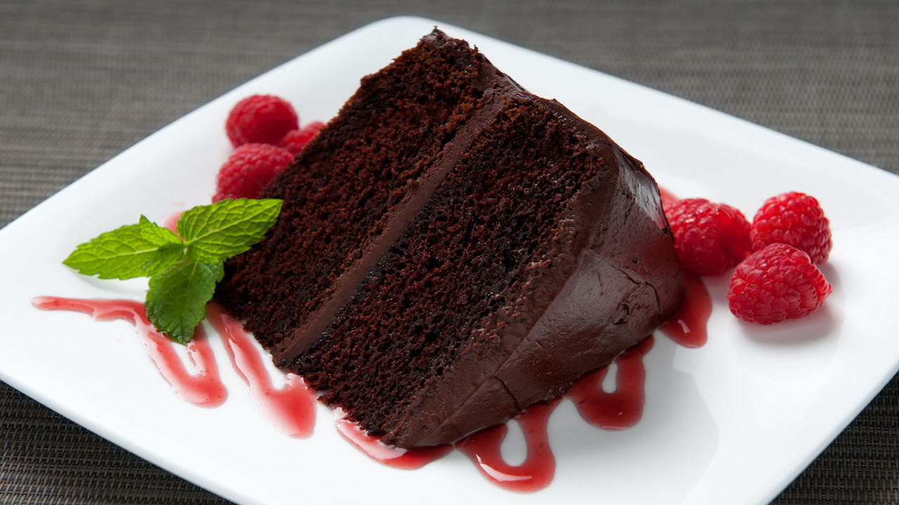 Stock image of a slice of chocolate cake.