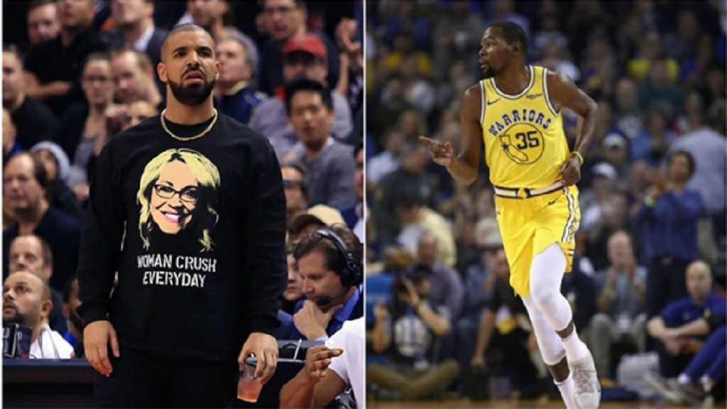 Rap star Drake (left) and Golden State Warriors star Kevin Durant.
