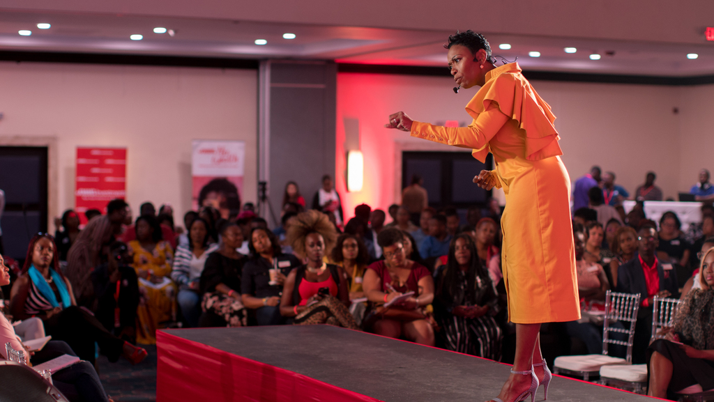 Rochelle Cameron is caught making a bold point while sharing about her journey of making career daring steps in 2019, during the JMMB Group Elevate event, a financial empowerment seminar held at the Jamaica Pegasus.