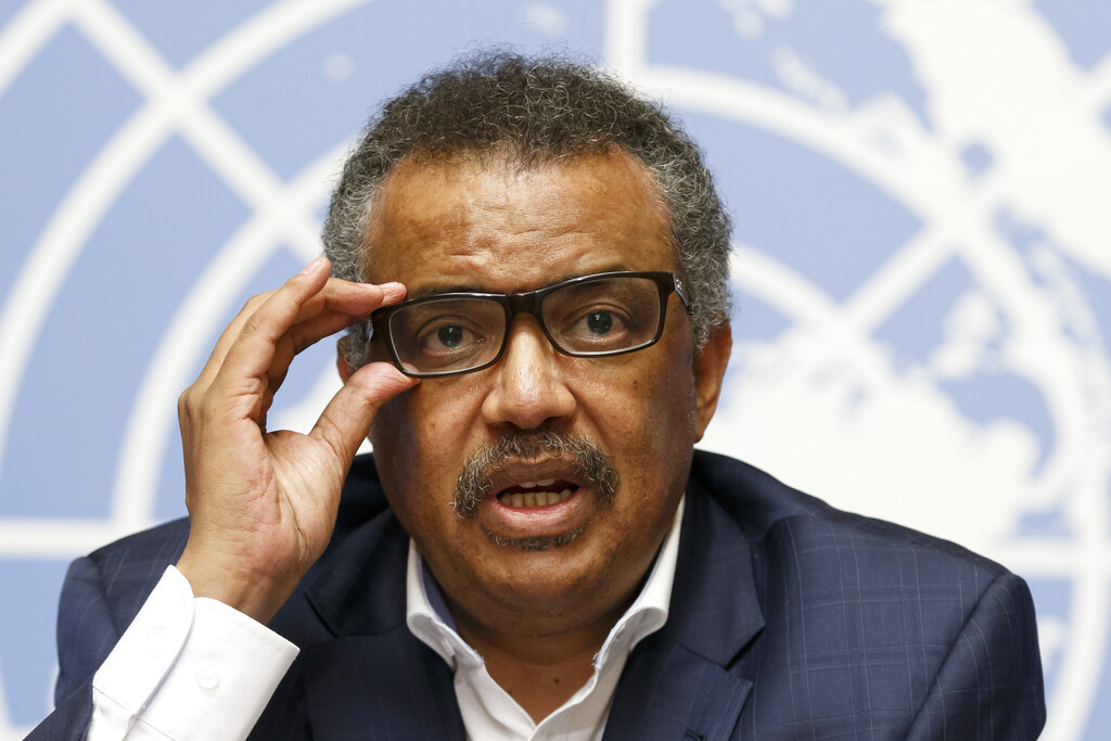 Tedros Adhanom Ghebreyesus, Director General of the World Health Organization (WHO), speaks during a press conference at the European headquarters of the United Nations in Geneva, Switzerland, on WHO Ebola operations in the Democratic Republic of the Congo (DRC). (Salvatore Di Nolfi/keystone via AP, File)