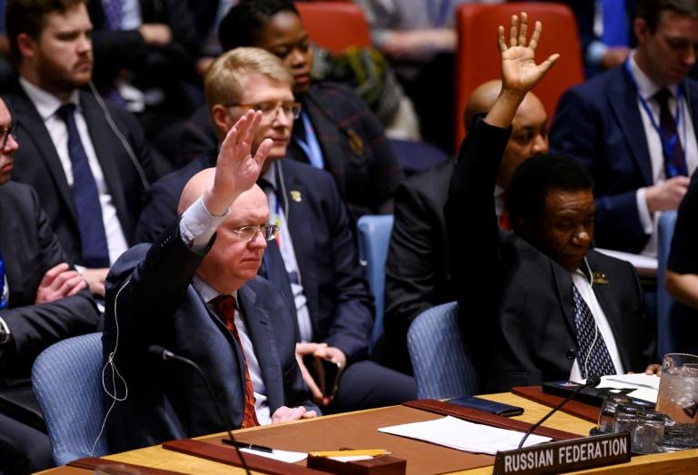 Au centre, le secrétaire d'Etat américain Mike Pompeo lors d'une réunion du Conseil de sécurité de l'ONU sur le Venezuela, le 26 janvier 2019 au siège des Nations unies à New York