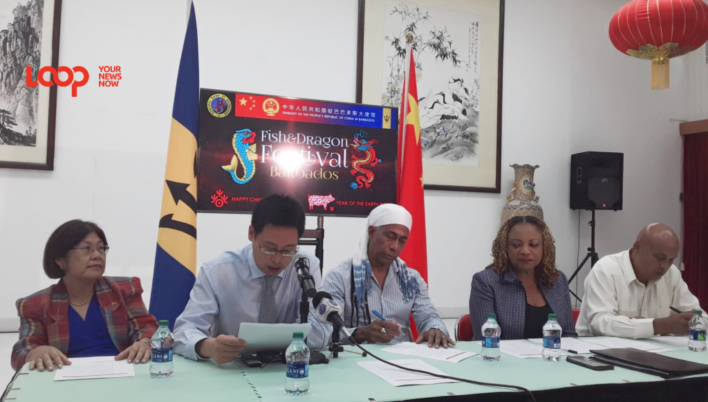 Head table at the Fish and Dragon 2019 media launch held at the Chinese Embassy in Barbados.