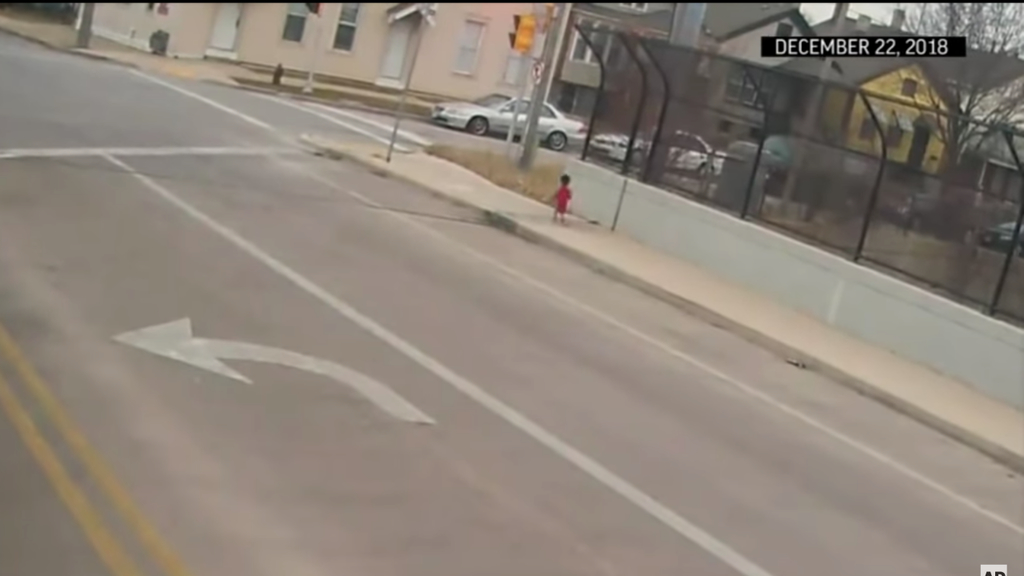 A bus driver rescued a barefoot toddler wandering in the freezing cold
