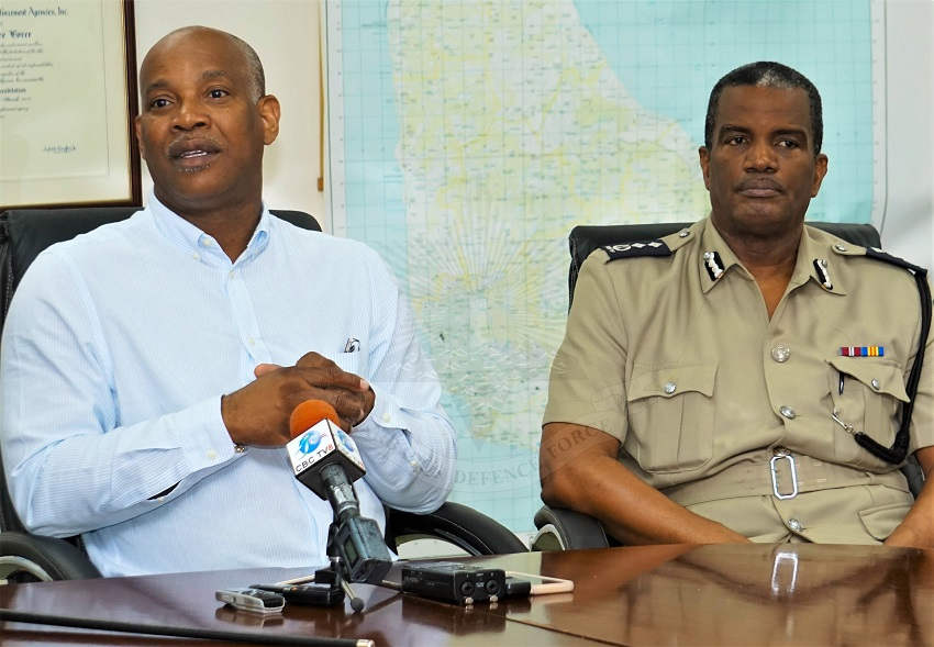 Attorney General, Dale Marshall and Deputy Commissioner of Police, Erwin Boyce. (Photo courtesy of the Barbados Defence Force)