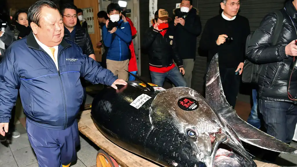 Kiyomura Corp. owner Kiyoshi Kimura, left, stands near the bluefin tuna which he made a wining bid at the annual New Year auction, in Tokyo Saturday, Jan. 5, 2019. (Koki Sengoku/Kyodo News via AP)