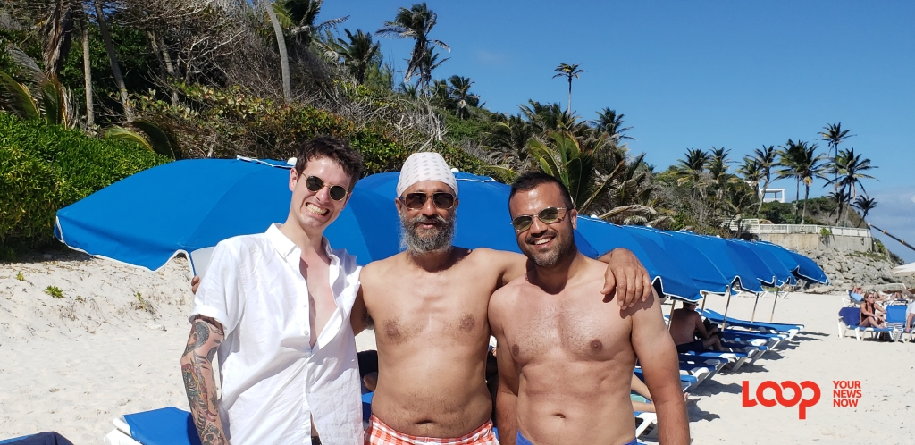 (center) Owner of The Whisky Exchange with (left) Dean MacGregor and (right) Sunny Sangha in Barbados as part of their 10-day Caribbean tour.