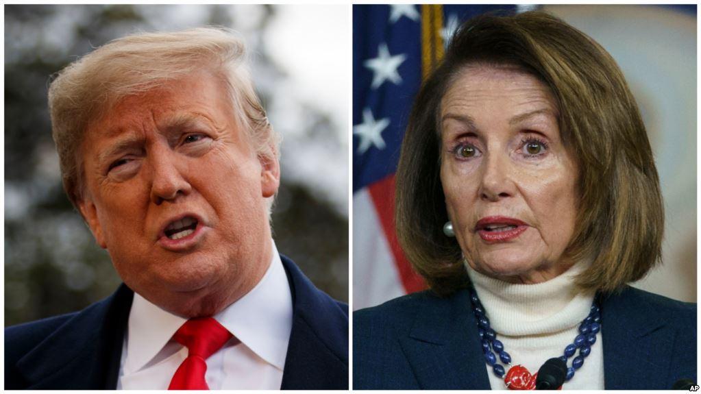 (ILLUSTRATION) La présidente démocrate de la Chambre des représentants Nancy Pelosi et le président américain Donald Trump sont engagés dans un bras de fer depuis plus de trois semaines