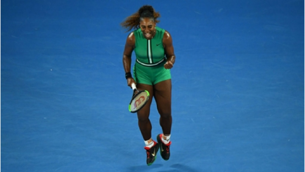 Serena Williams during her second-round match against Eugenie Bouchard.