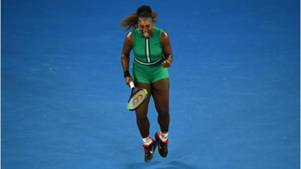 Serena Williams during her second-round match against Eugenie Bouchard.