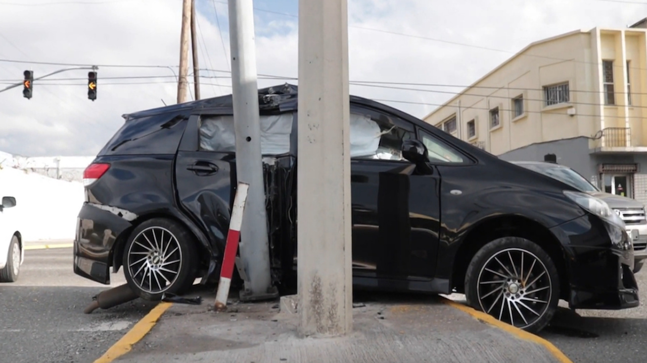 The damaged Toyota Wish motor car after the accident.