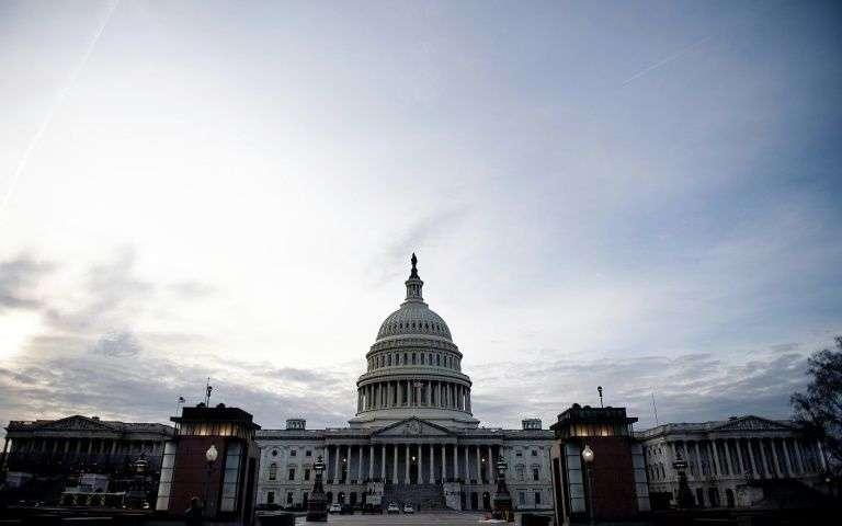 """Au 34e jour du """"shutdown"""", le bras de fer entre Trump et les démocrates se poursuit au Capitole, photographié ici le 23 janvier 2019"""