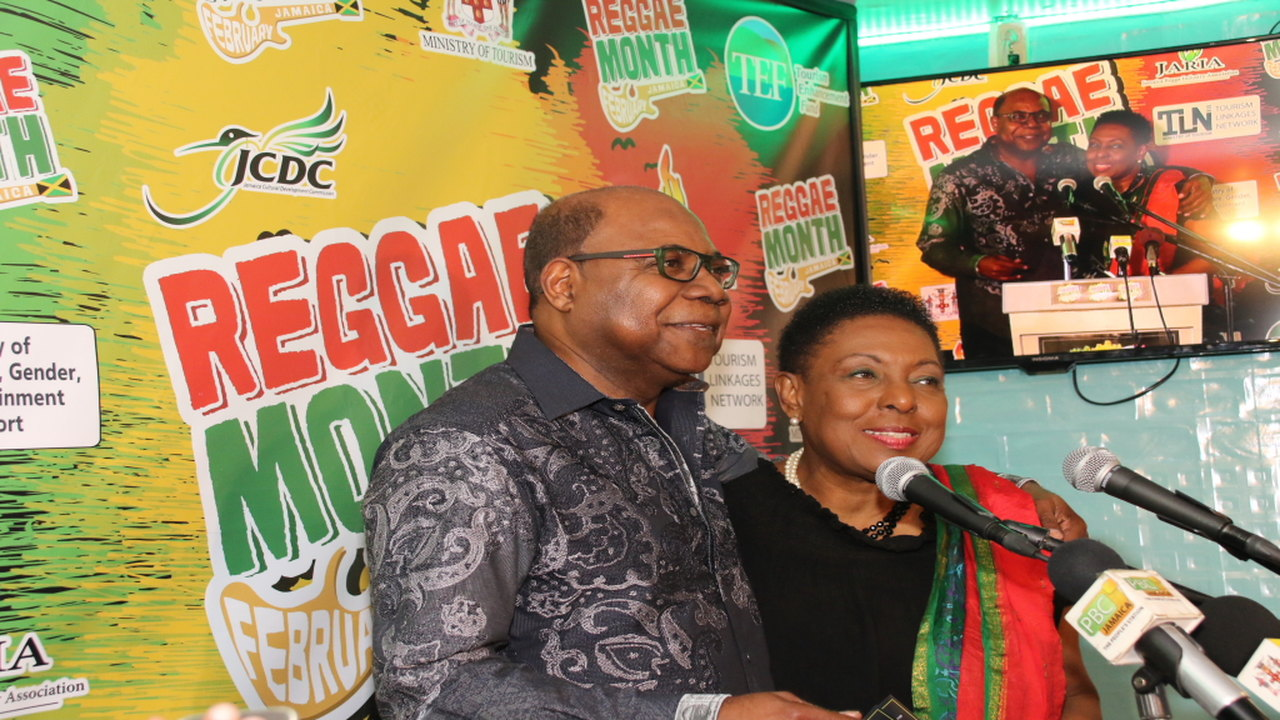 Tourism Minister Edmund Bartlett with Entertainment and Culture Minister Olivia Grange at the launch of Reggae Month 2019 at Ribbiz Ocean Lounge.
