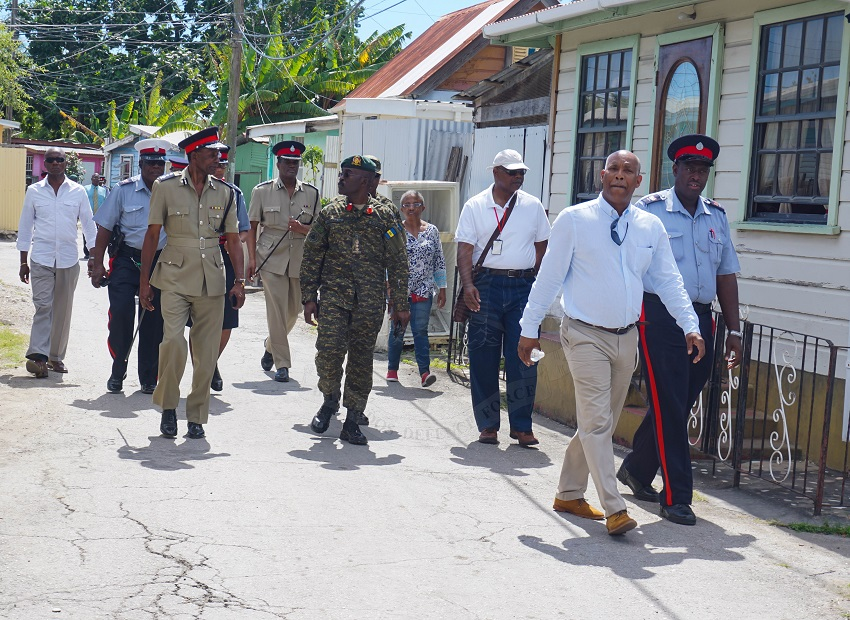 Attorney General, Dale Marshall, on a walkthrough with Police