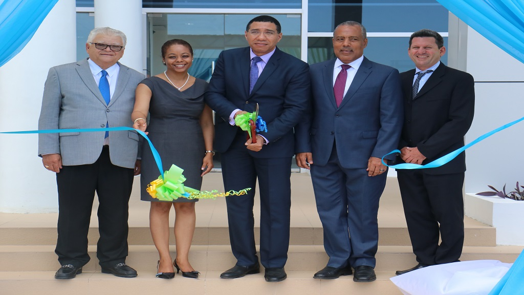 Pictured from left at the BPO opening ceremony at Montego Bay Free Zone are Minister without Portfolio in the Ministry of Economic Growth and Job Creation, Karl Samuda; Attorney General Marlene Malahoo-Forte; Prime Minister Andrew Holness; Port Authority of Jamaica (PAJ) President, Professor Gordon Shirley; and Chairman of Montego Bay Free Zone Company Limited, Mark Hart.