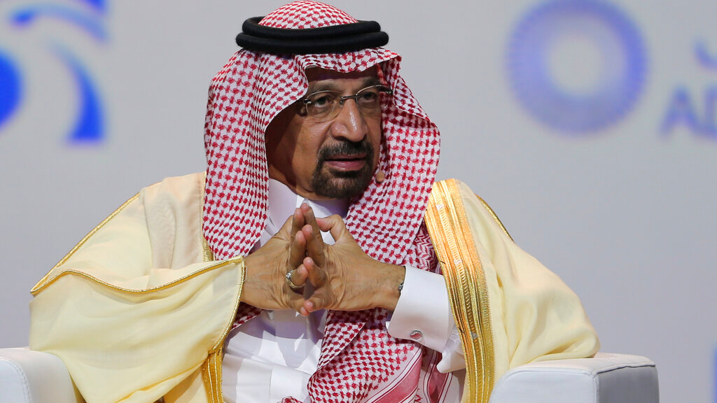 In this Nov.12, 2018 file photo, Khalid Al-Falih, Saudi Energy and Oil Minister, speaks at the Abu Dhabi International Exhibition & Conference, in Abu Dhabi, United Arab Emirates. (AP Photo/Kamran Jebreili, File)