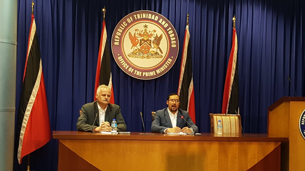 Photo: Sandals CEO Gebhard Rainer (left) and Minister in Office of the Prime Minister Stuart Young at a news conference today. Credit: Alina Doodnath