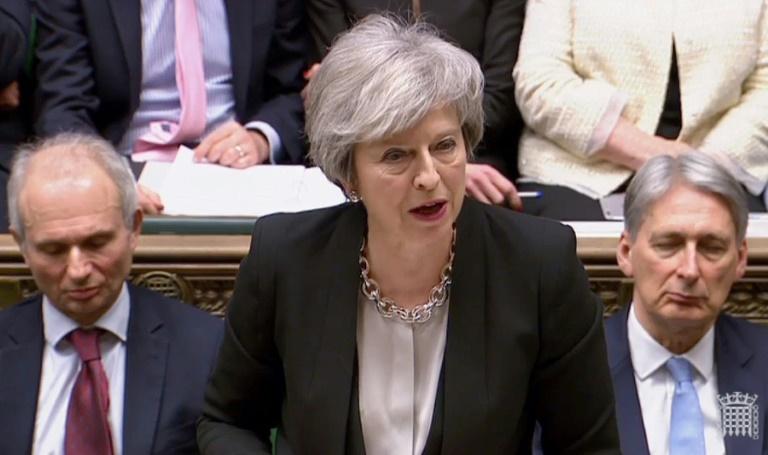 La Première ministre britannique Theresa May devant les députés, le 29 janvier 2019 à la Chambre des communes, à Londres