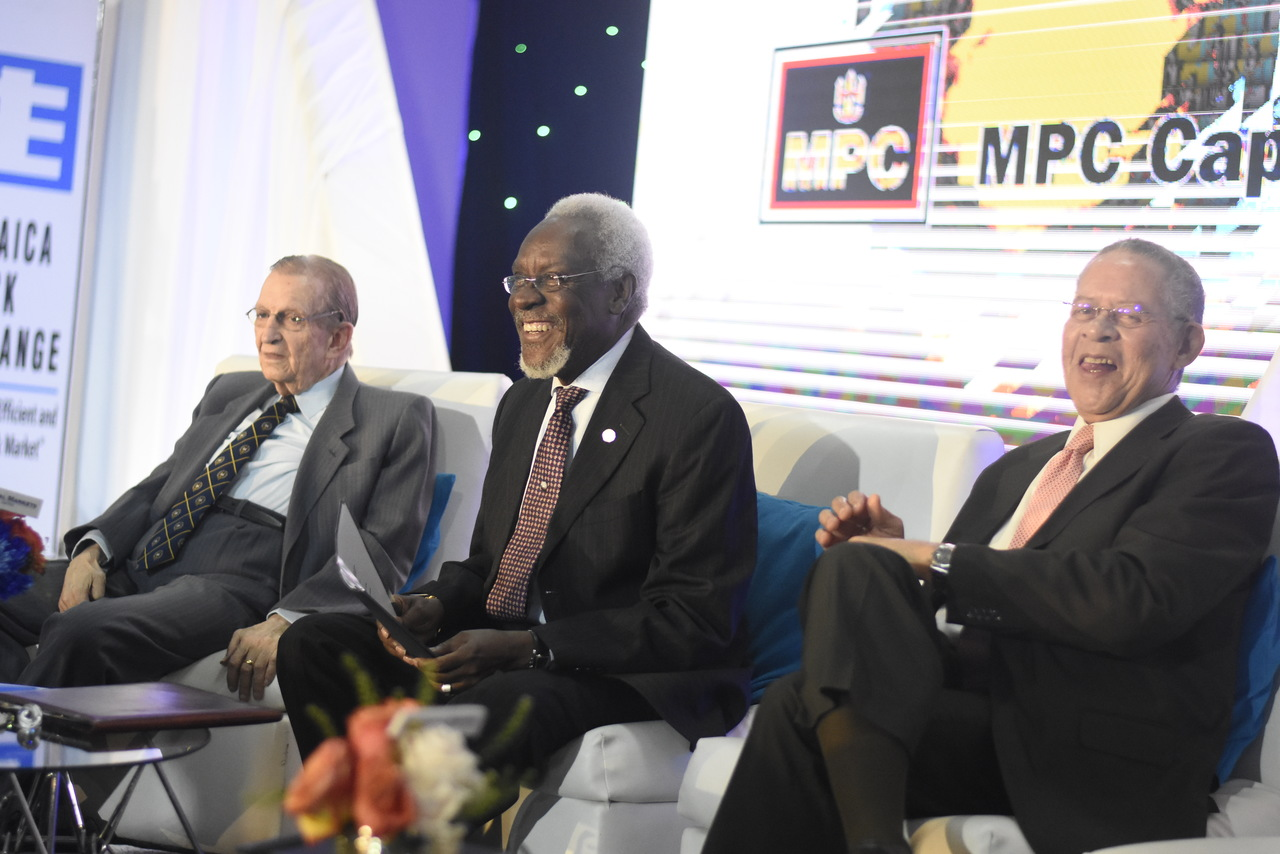 Former prime ministers (from left to right) Edward Seaga, PJ Patterson and Bruce Golding at the JSE's 14th Regional Investments and Capital Markets Conference. (Photo: Marlon Reid)