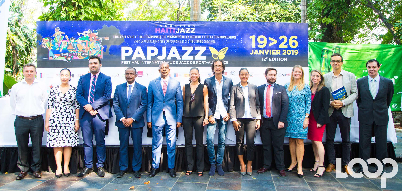 Les représentants des ambassades partenaires du festival depuis 13 ans, les ministres haïtiens de la Culture et du Tourisme au lancement officiel du PAP Jazz à Karibe Hôtel, jeudi 10 janvier./Photo: Rosny Ladouceur