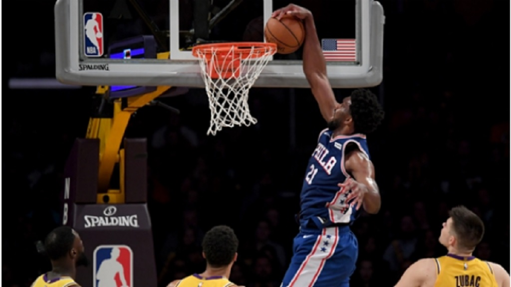 Philadelphia 76ers All- Star Joel Embiid in action against the Los Angeles Lakers.