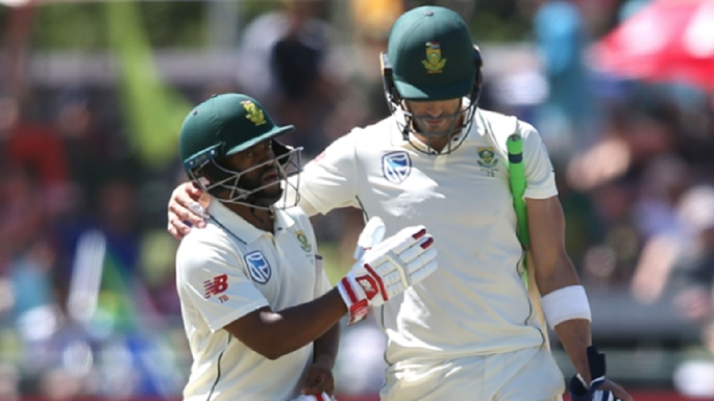 Temba Bavuma and South Africa captain Faf du Plessis.