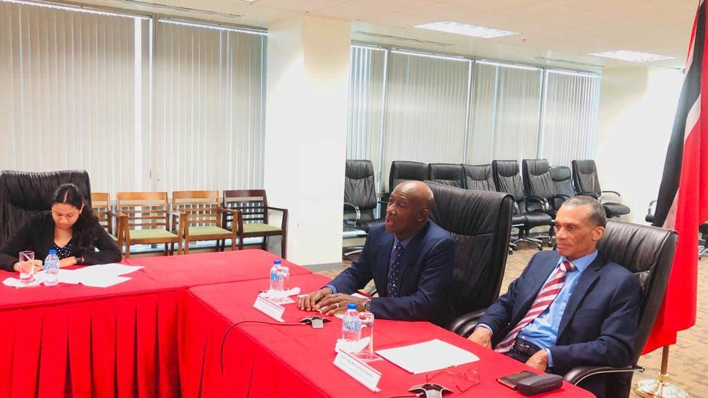Prime Minister Dr Keith Rowley (left) and Minister of Foreign and CARICOM Affairs Dennis Moses (right) during their video-conference with other CARICOM Heads of Government earlier today (January 24, 2019).