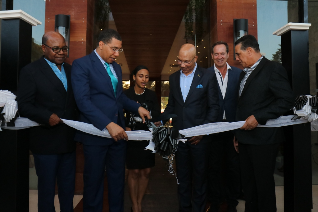 From left to right: Tourism Minister Edmund Bartlett, Prime Minister Andrew Holness; Lisa Gardner, general manager of the S Hotel; Governor General Sir Patrick Allen; Head of Crissa Group- developers of S Hotel Christopher Issa and Montego Bay Mayor Homer Davis at the hotel opening on Montego Bay's Hip Strip.