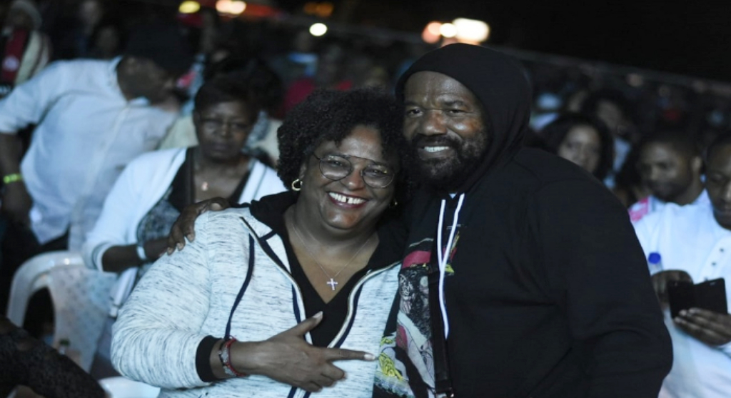 Event promoter Tony Rebel with Barbadian Prime Minister Mia Mottley on the opening night of Rebel Salute 2019. (PHOTOS: Marlon Reid)