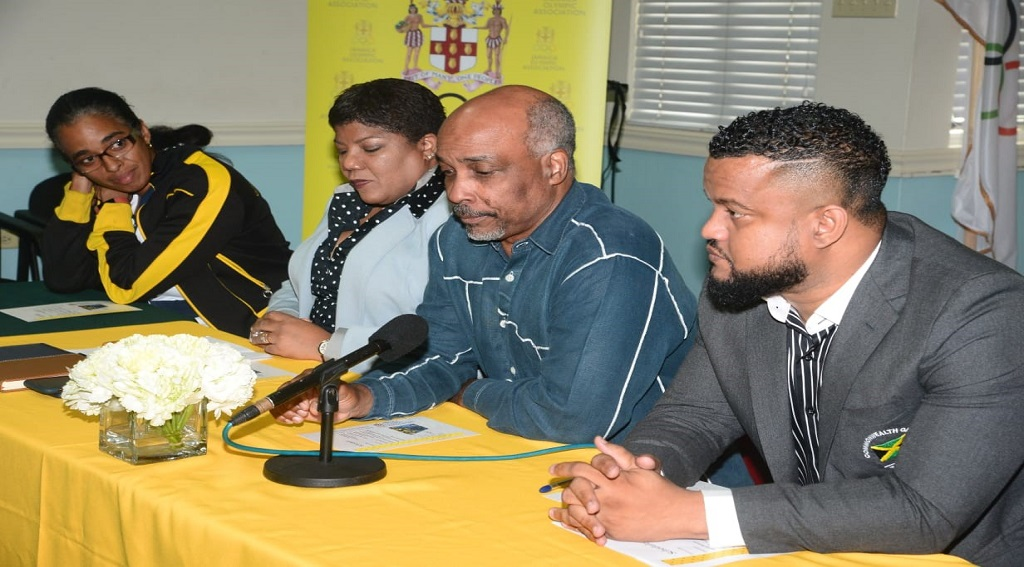 Ryan Foster (right), General Secretary of the Jamaica Olympic Association (JOA), talks while sitting at the head table, during the launch of the Women in Sport Commission at the Olympic Manor, the JOA headquarters on Cunningham Avenue in Kingston. Looking on are (from left) Suzanne Harris-Henry, Secretary General, Jamaica Paralympic Association, Nichole Case, Chairperson of the Women in Sport Commission and Christopher Samuda, President, JOA.
