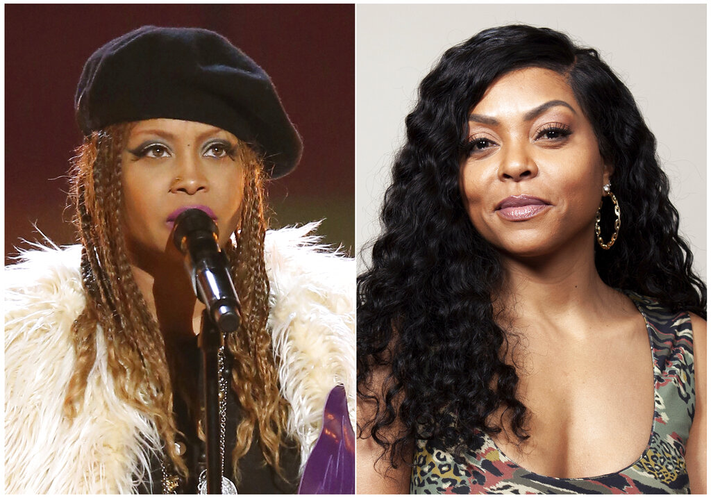This combination photo shows Erykah Badu performing at a tribute to Prince at the BET Awards in Los Angeles on June 26, 2016, left, and Taraji P. Henson posing for a portrait in Beverly Hills, Calif., on Nov. 3, 2018.  (AP Photo)