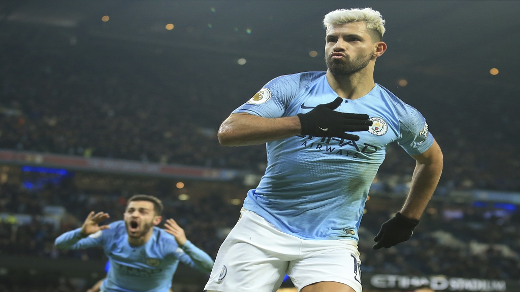 Manchester City's Sergio Aguero celebrates after scoring the opening goal of the English Premier League game against Liverpool at the Ethiad stadium, Manchester England, Thursday, Jan. 3, 2019.