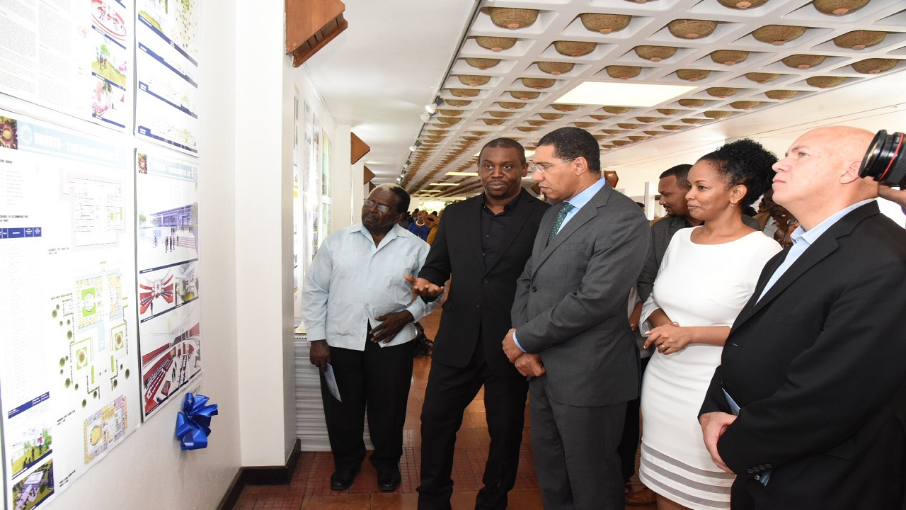 L-R: Speaker of the House Pearnell Charles; Architect Damian Edmond; Prime Minister Andrew Holness; Acting Gen. Manager of the UDC, Heather Pinnock; Patron of the Houses of Parliament Design Competition, Architect Gordon Gill at the officially opening of the Houses of Parliament Exhibition last year.