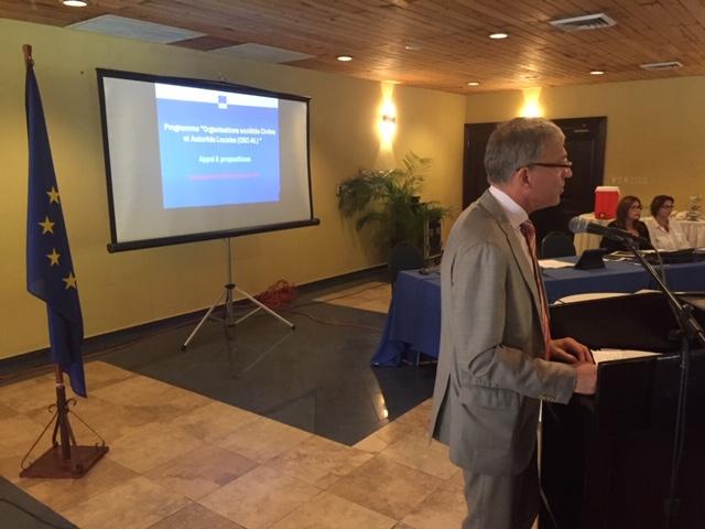 Vincent Degert, Chef de la Délégation de l'Union Européenne, à la rencontre organisée à Karibe entre l'UE et des représentants d'organisations nationales./Crédit: Raphael Brigandi