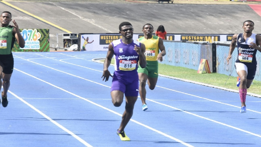 Deshawn Morris of KC moves away from the field to win the Boys' Class 1 400m final on on the fifth and final day of the 2018 ISSA/GraceKennedy Boys and Girls' Athletics Championships at the National Stadium on March 24. (PHOTO: Marlon Reid).