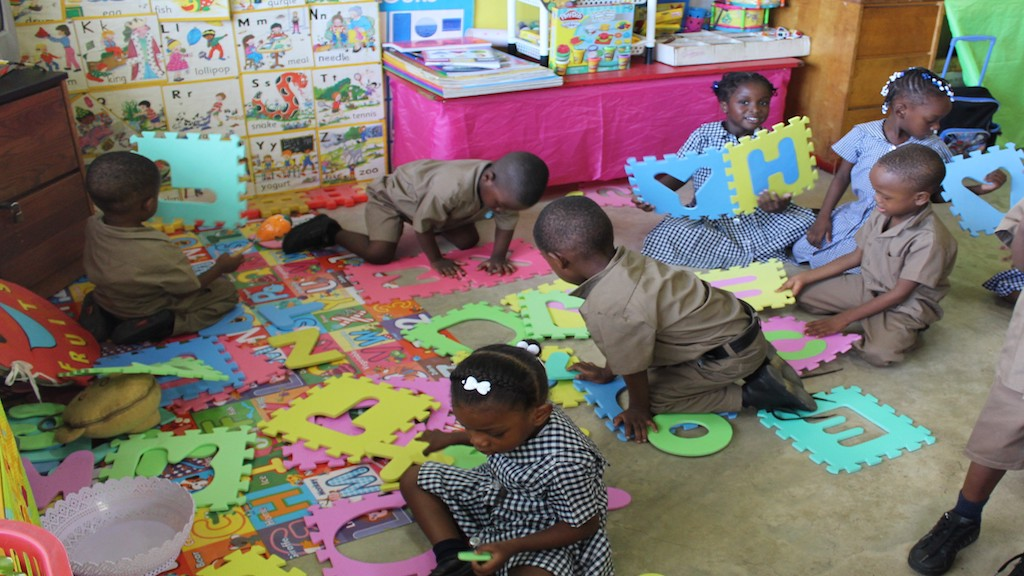 Children during play time at St Paul's United Early Childhood Institution in Kingston.