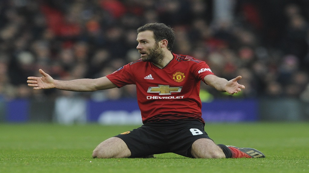 Manchester United's Juan Mata reacts during the English FA Cup third round football match against Reading at Old Trafford in Manchester, England, Saturday, Jan. 5, 2019.